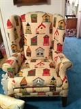 bird house upholstered wingback chair